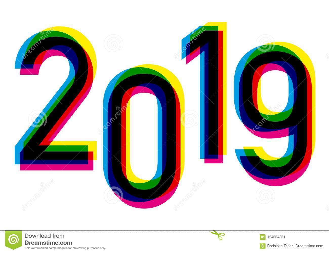2019 In The Four Colors Of Printing Yellow Cyan Magenta And Black