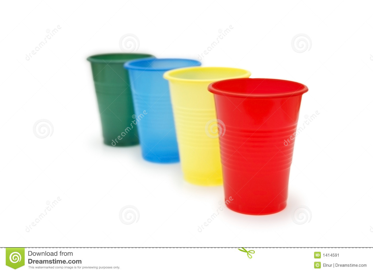 Four Colourful Plastic Cups Stock Image Image 1414591