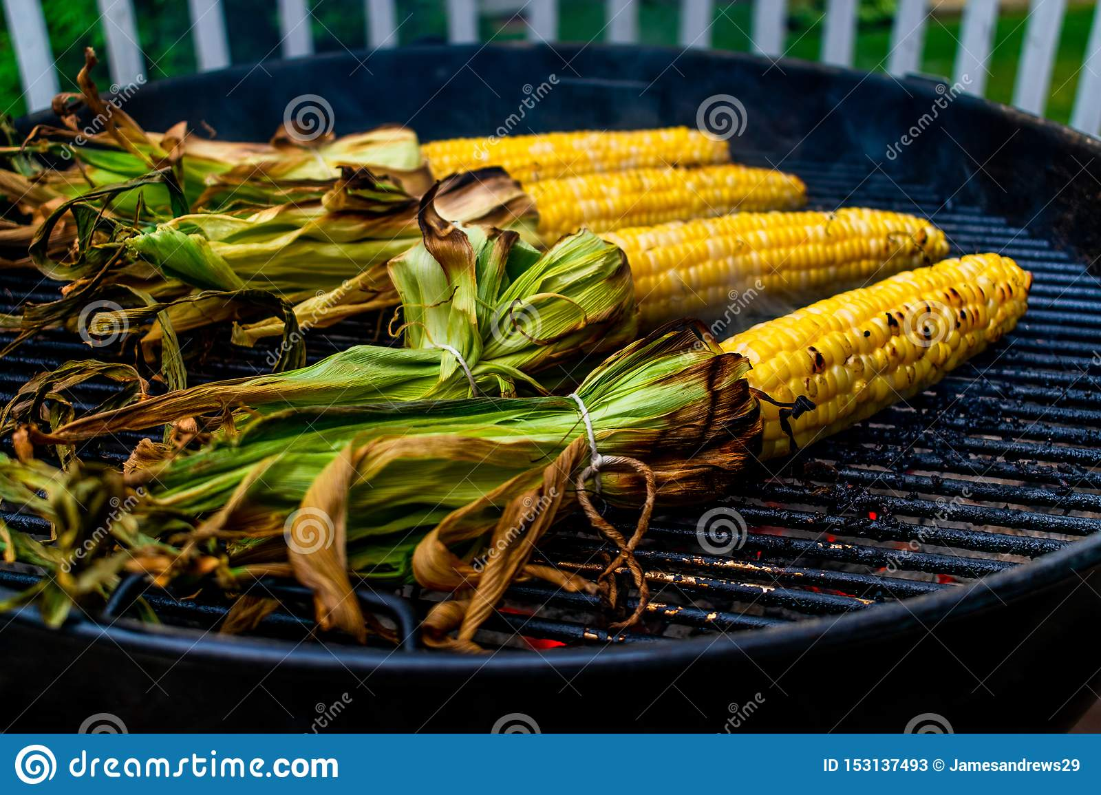 Corn on the cob cooking on a grill