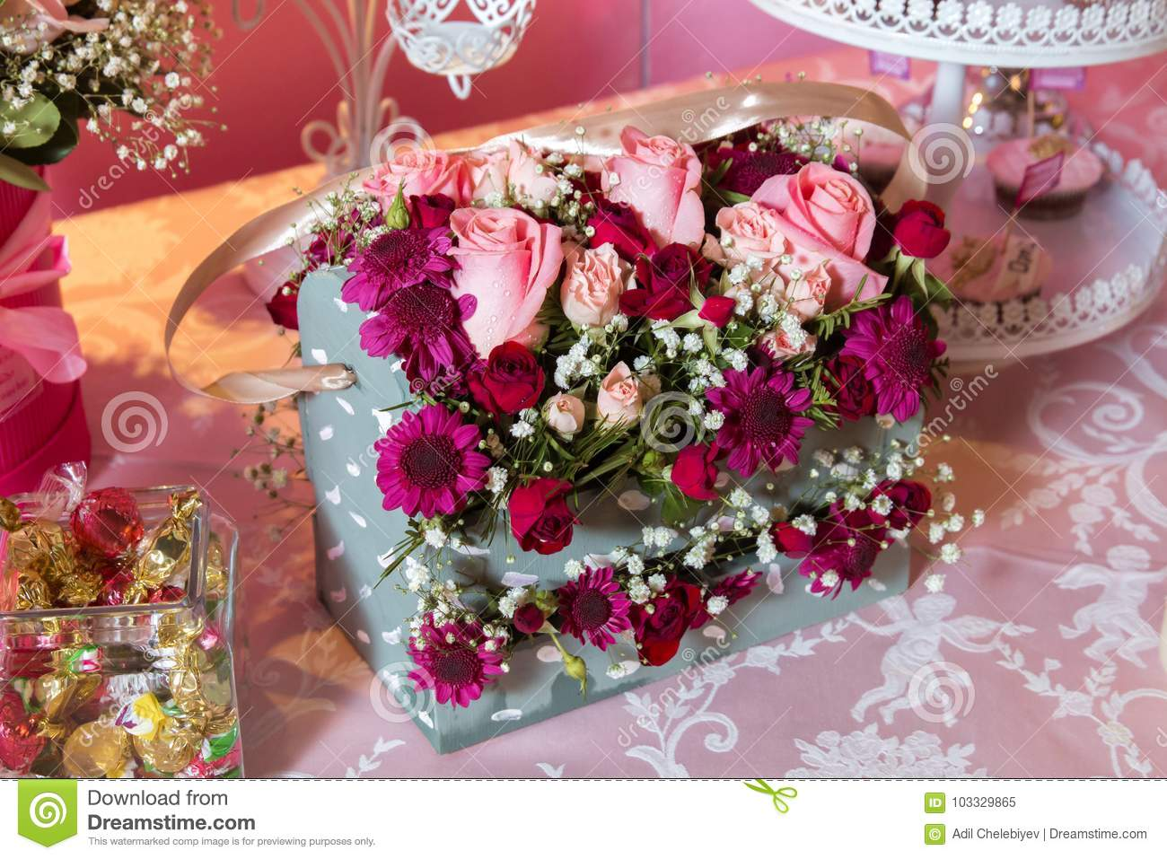 Gift Box With Colorful Roses Four Cornered Birthday Flower Bouquet Bouquets Of Paper Flowers In A Cardboard Square Boxes Stock Image Image Of Square Floral 103329865