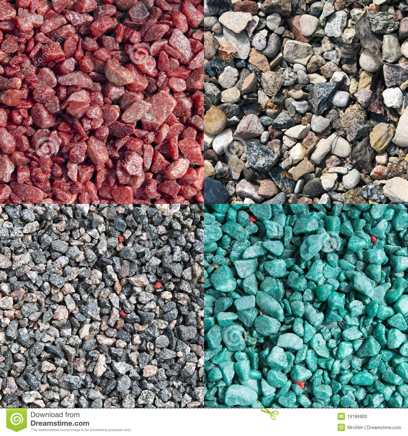 Pink Crushed Stone : Four different colored and natural crushed stones stock