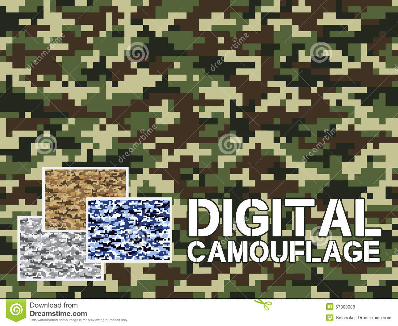 four different colors digital camouflage military pattern for