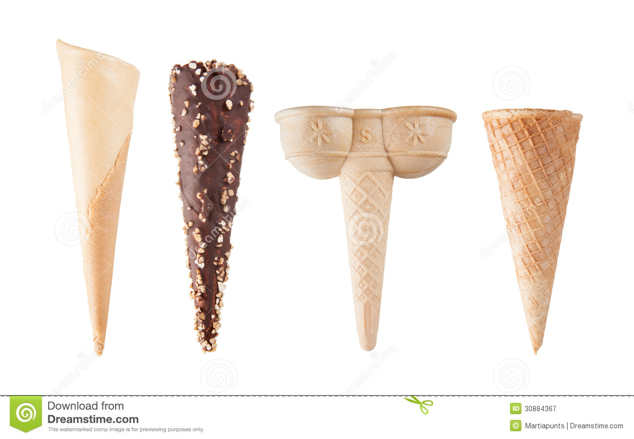 Four Different Empty Ice Cream Cones Isolated On White Stock Image Image Of Texture Background 30884367