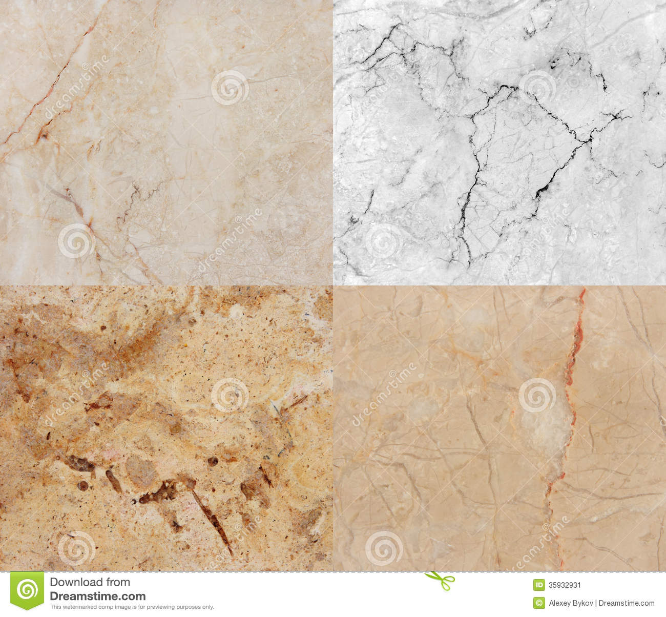 Four Different Marble And Granite Texture