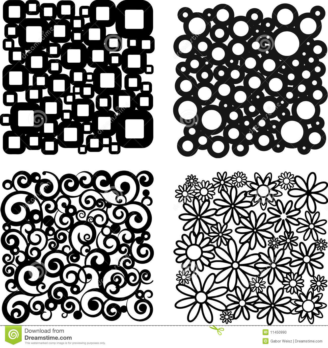 Four Different Patterns Stock Photo Image 11450990