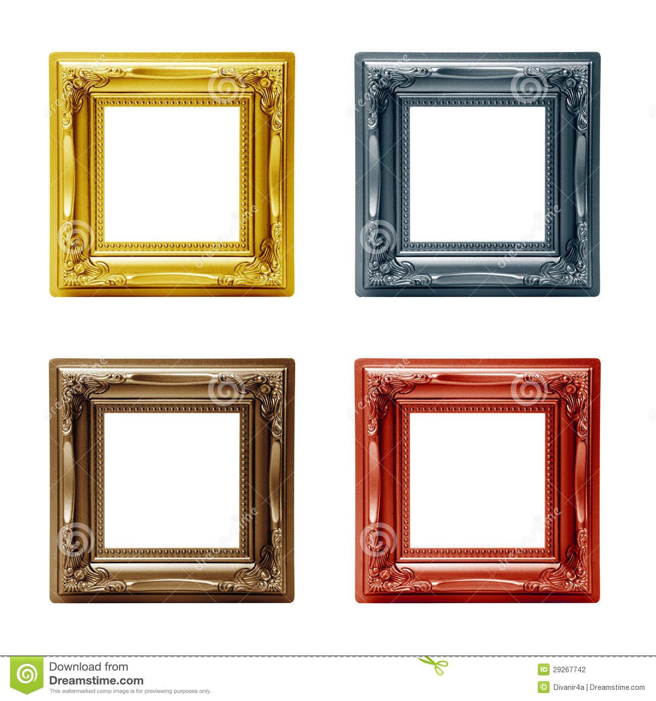 Four Different Picture Frames Stock Photo - Image of picture, wooden ...