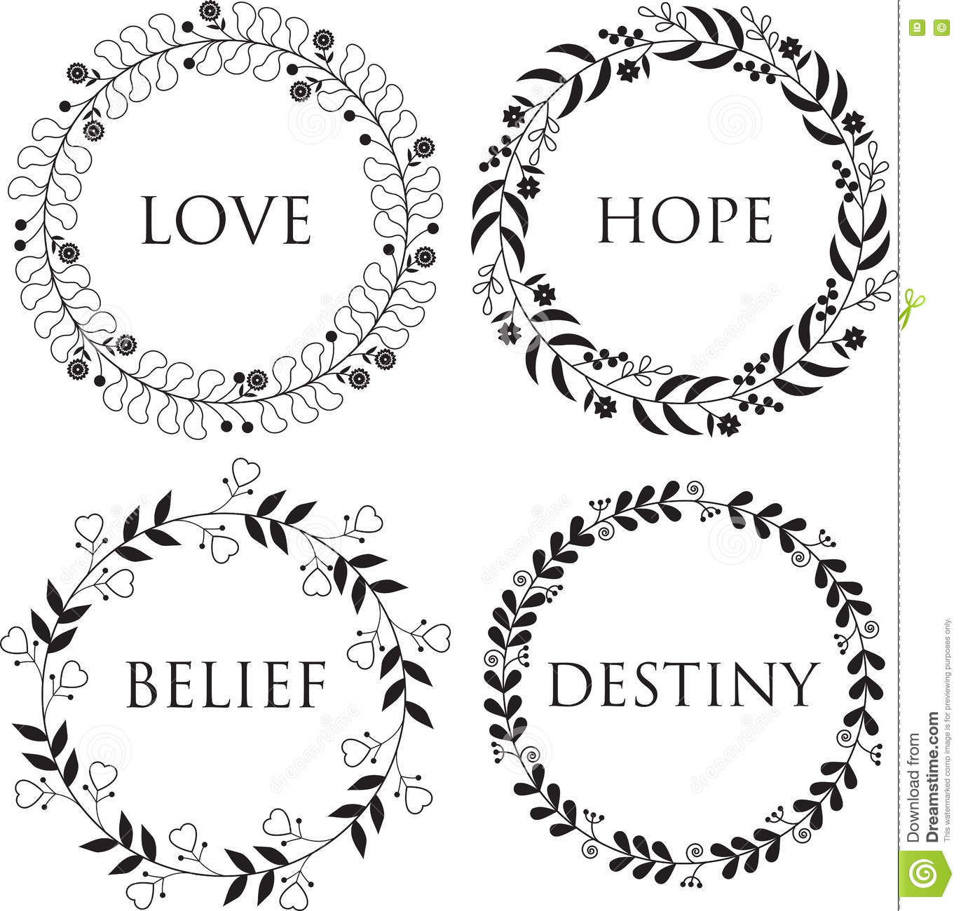 four different simple floral borders stock vector image