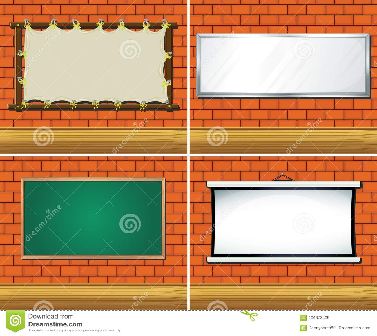 Four Different Types Of Boards On Wall Stock Vector Illustration