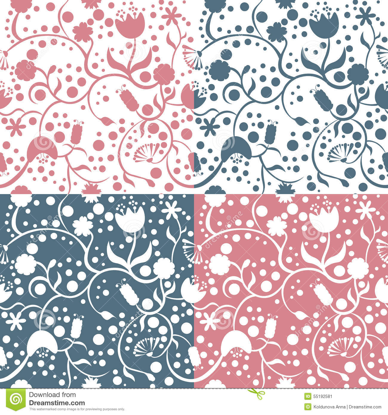 Four Different Types Of Floral Patterns Stock Vector