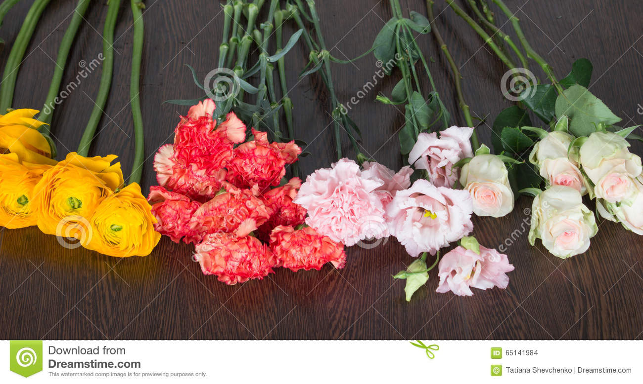 Four Different Types Of Flowers On The Table Stock Photo Image Of