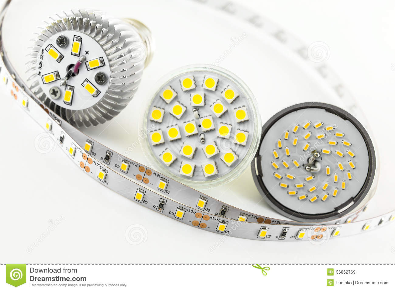 Four Different Types Of Smd Led Chips Royalty Free Stock