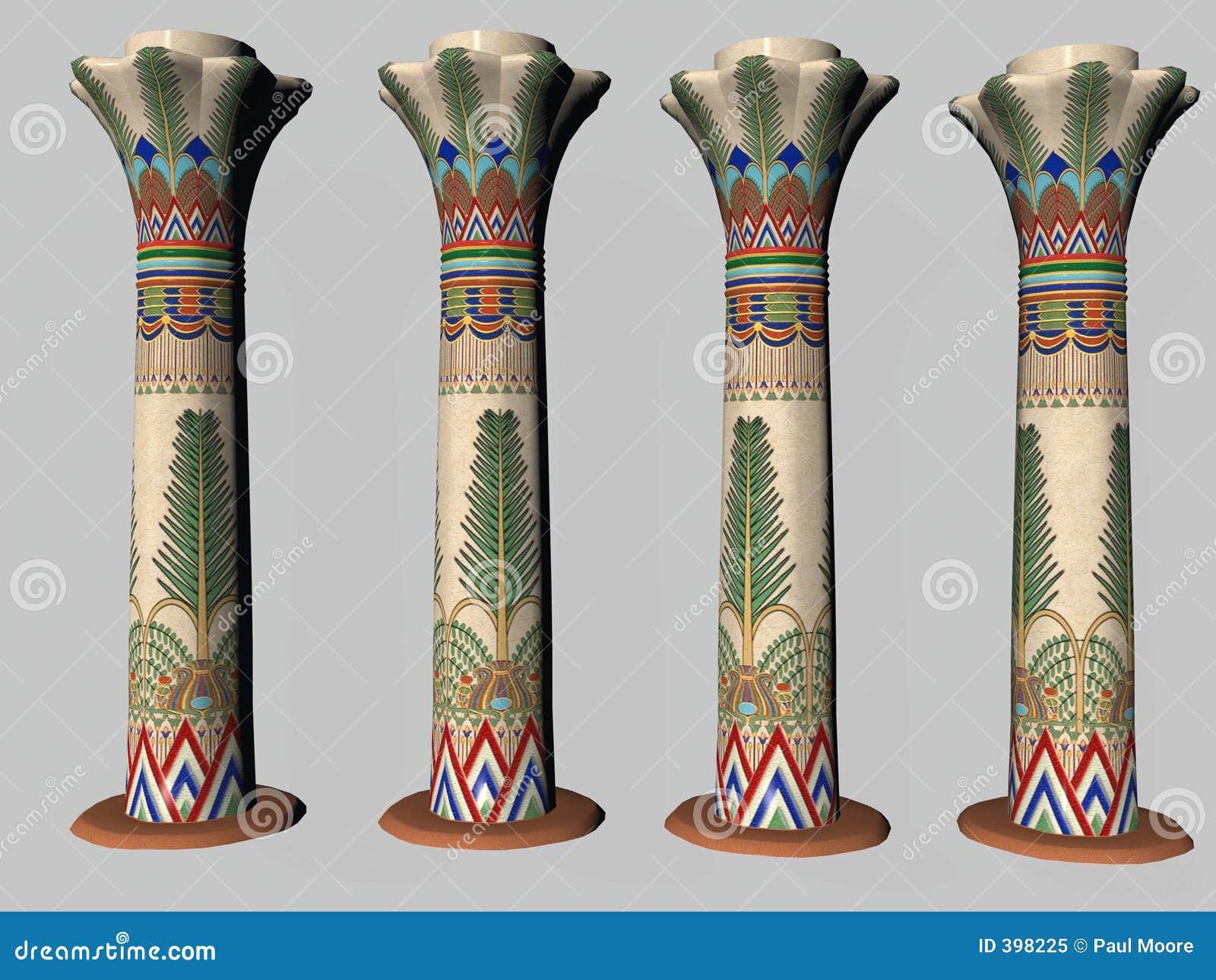 Four Egyptian Pillars Two Stock Illustration Image Of