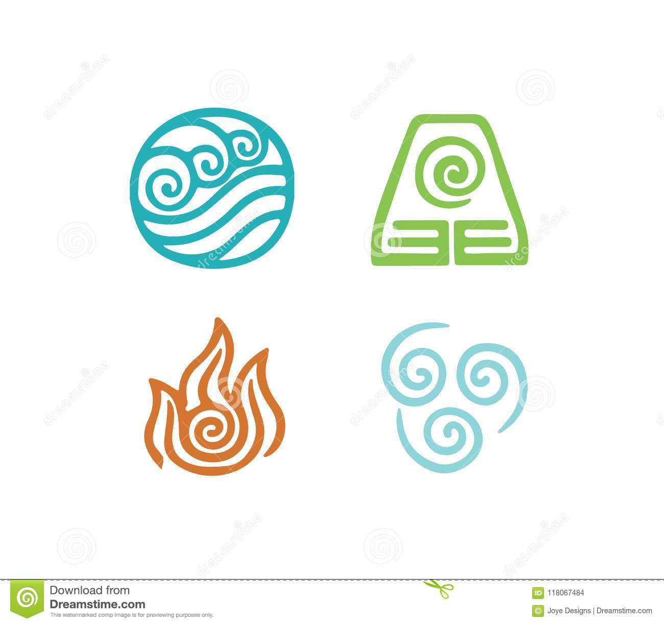 Four Element Icon Set On White Background Stock Illustration