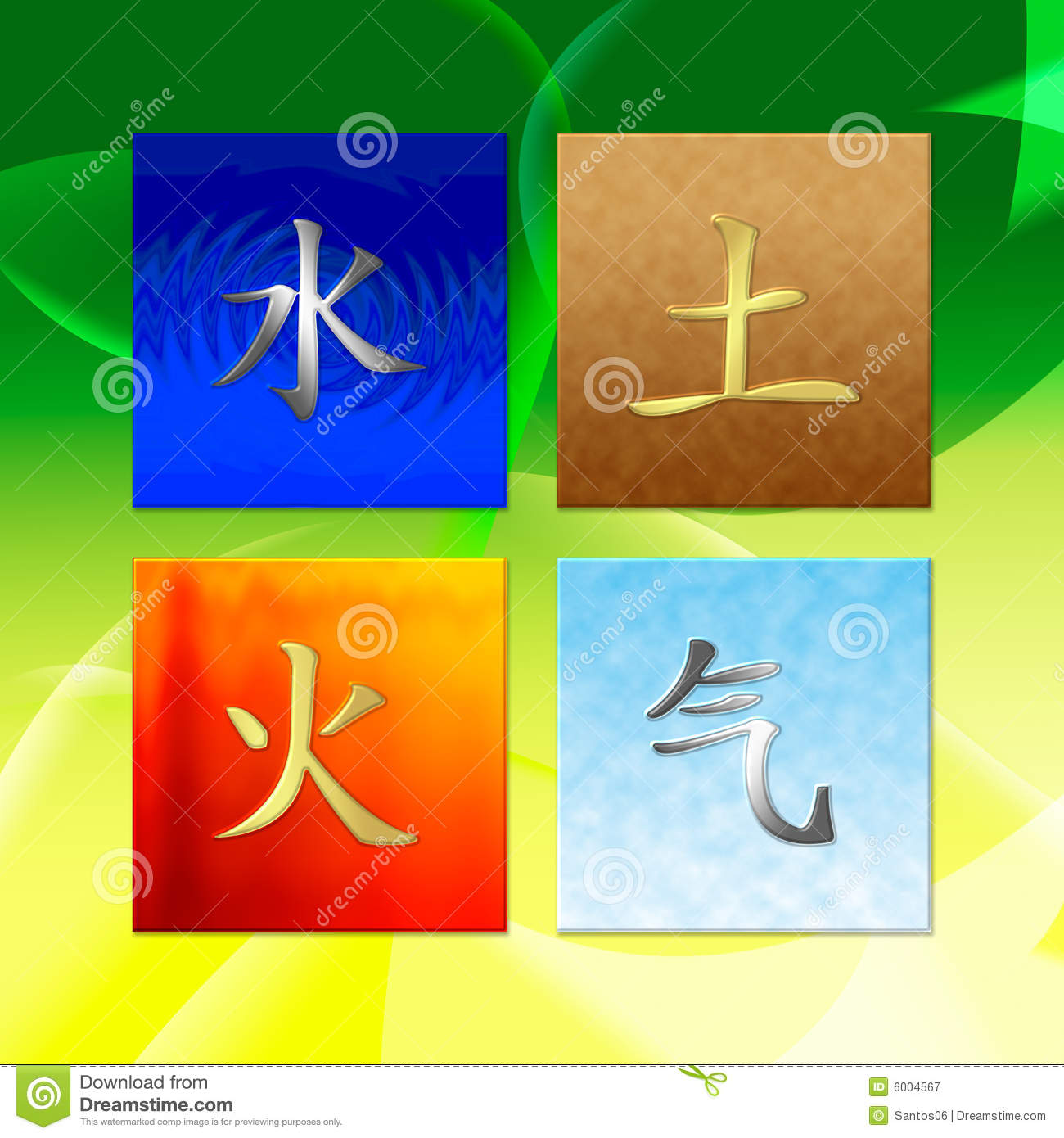 Chinese character for earth fire water air stock illustration four elements royalty free stock photography buycottarizona Images