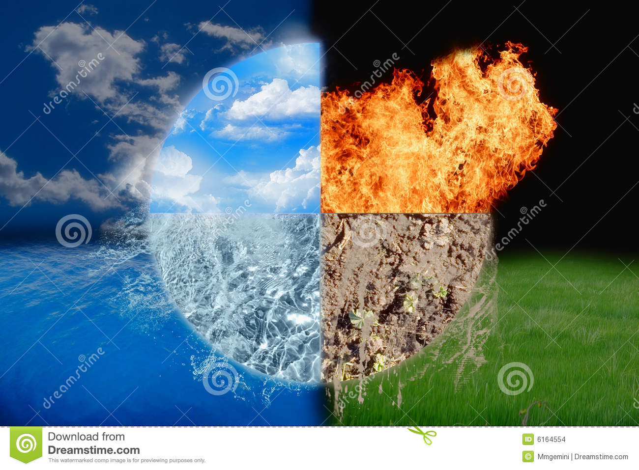 Water Fire Clef Raw Emotion Passion: Four Elements Stock Images