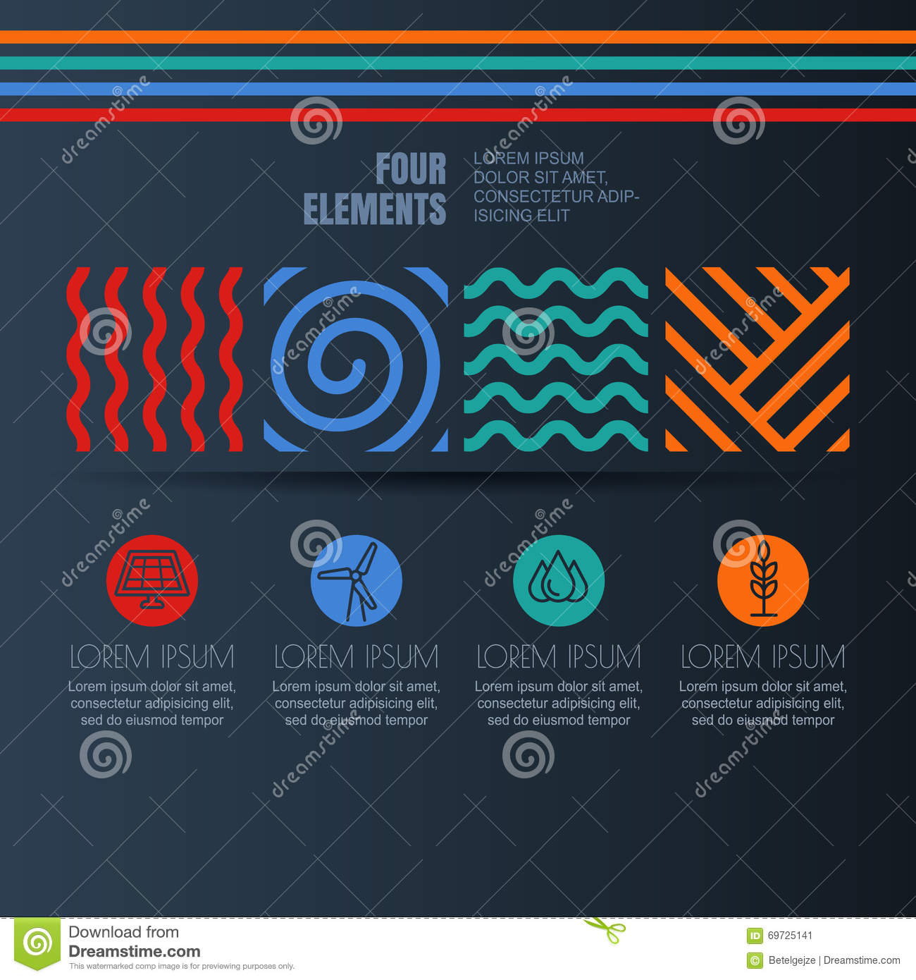 Four Elements Abstract Linear Symbols And Alternative Energy Icons