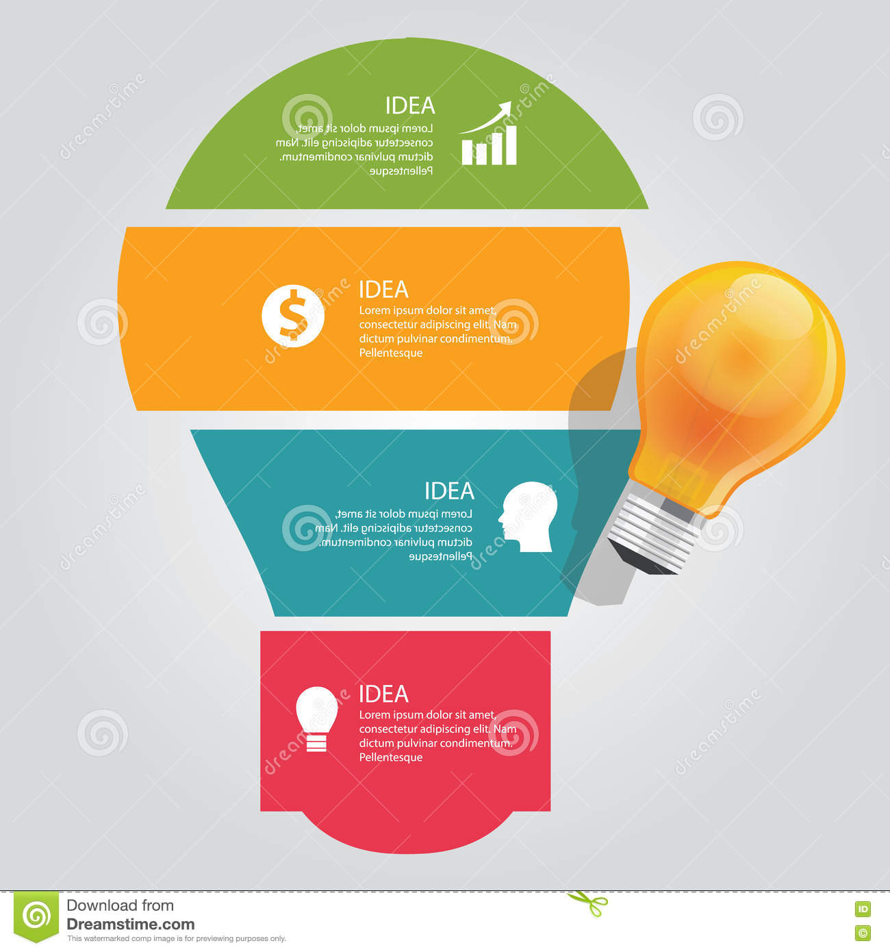 Four 4 elements of idea info graphic chart overlap vector bulb business shine