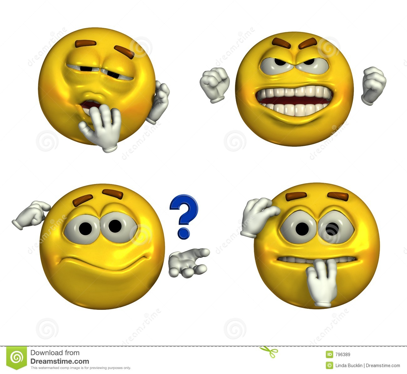 Four Emoticons - with clipping path