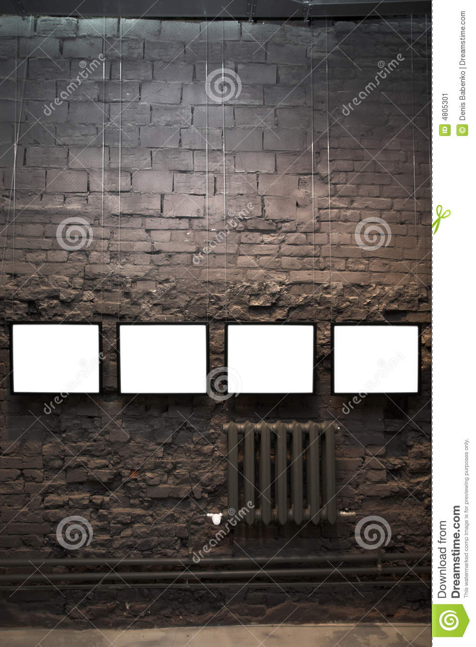 Four empty frames on brick wall stock image image 4805301 for Four blank walls
