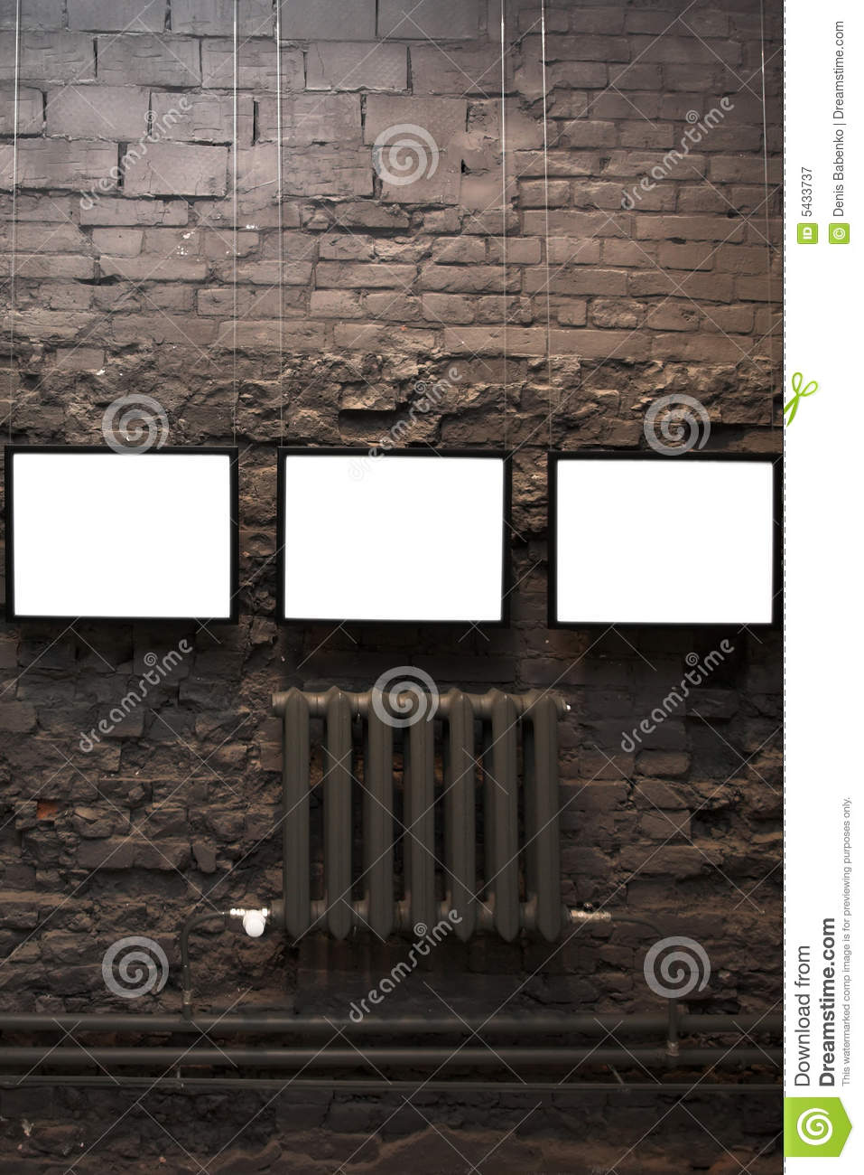 Four empty frames on brick wall royalty free stock for Four blank walls