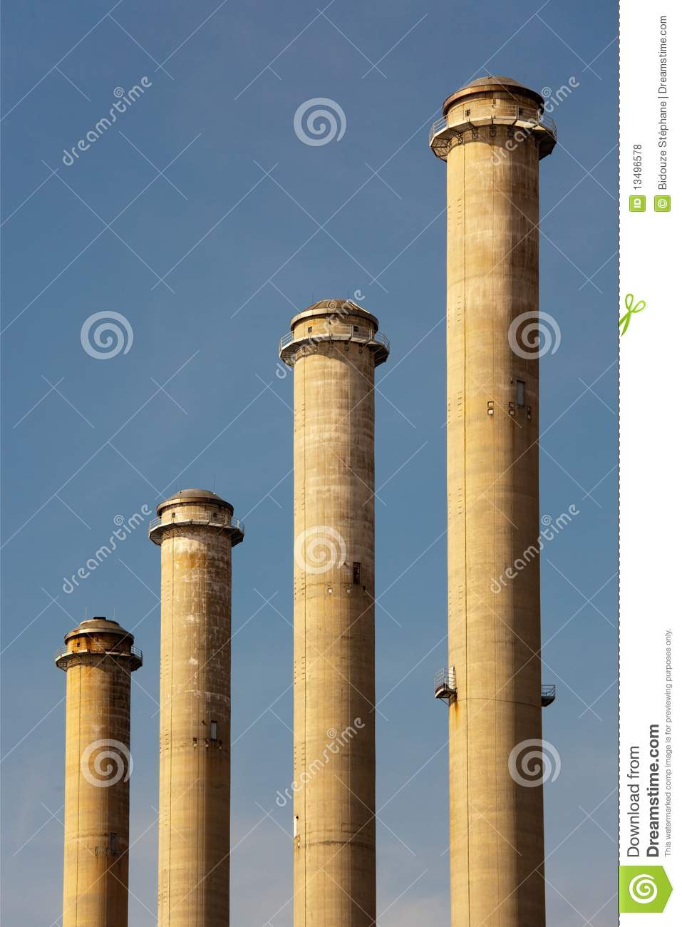 Four Factory Chimneys Royalty Free Stock Photos - Image: 13496578