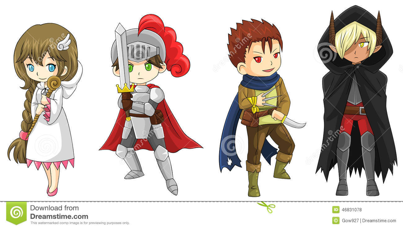 Four Fantasy Cartoon Warriors And Wizard Characters Set vector Stock