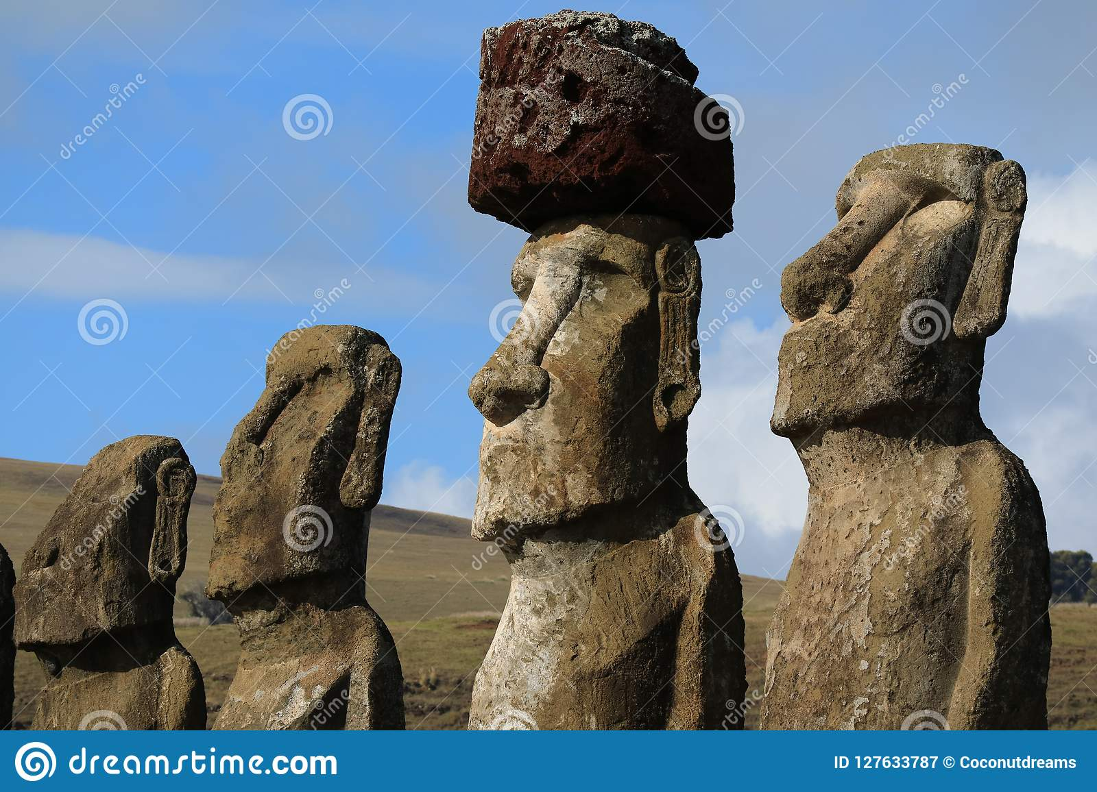 Four of fifteen huge Moai statues of Ahu Tongariki ceremonial platform on Easter Island archaeological site, Chile