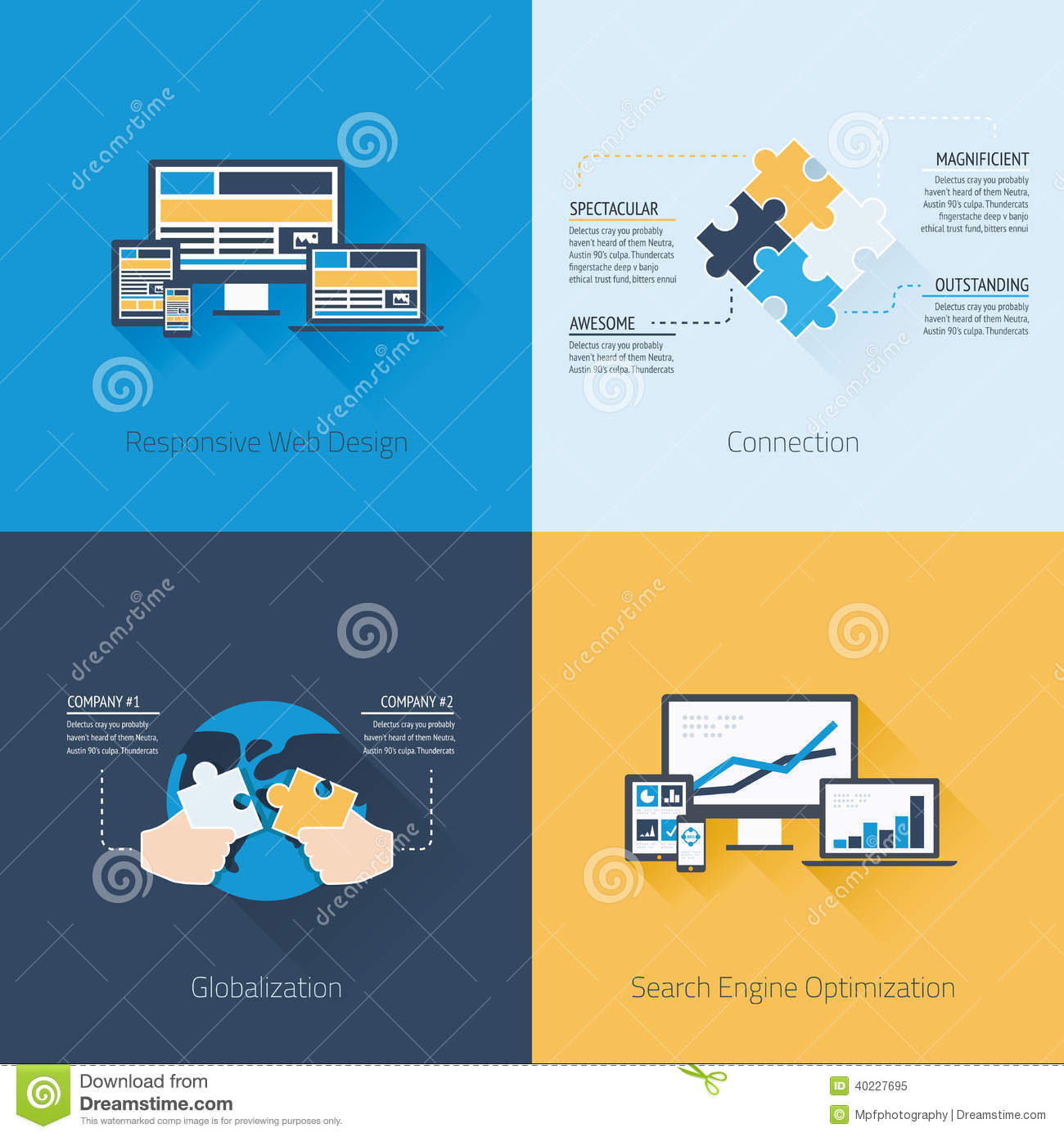 Four Flat Web Design And Business Concepts Stock Vector