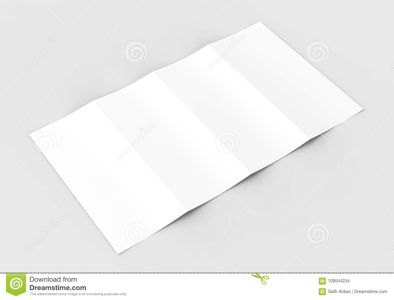 four folded 4 fold vertical brochure mock up isolated on sof