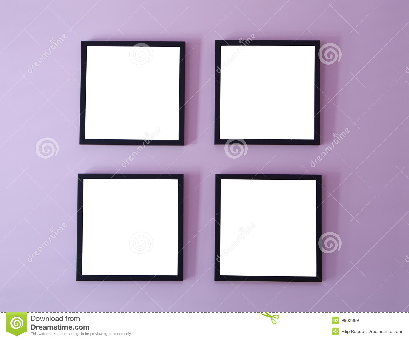 Four frames on wall stock image. Image of boundary, square - 9862889
