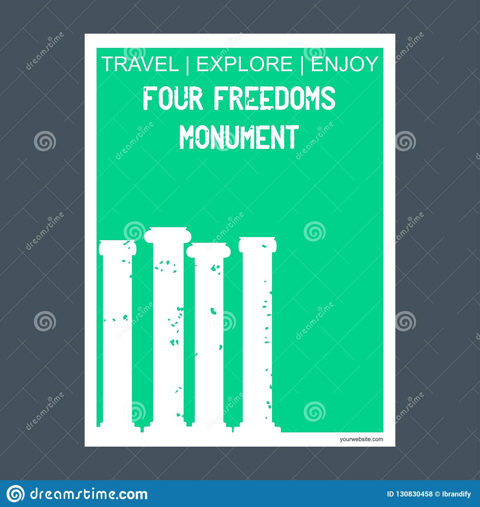 Four Freedom Monument Madison, Florida monument landmark brochure Flat style and typography vector