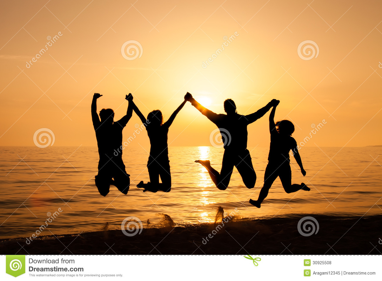 Four Friends Jumping On The Beach Royalty Free Stock Photos - Image ...