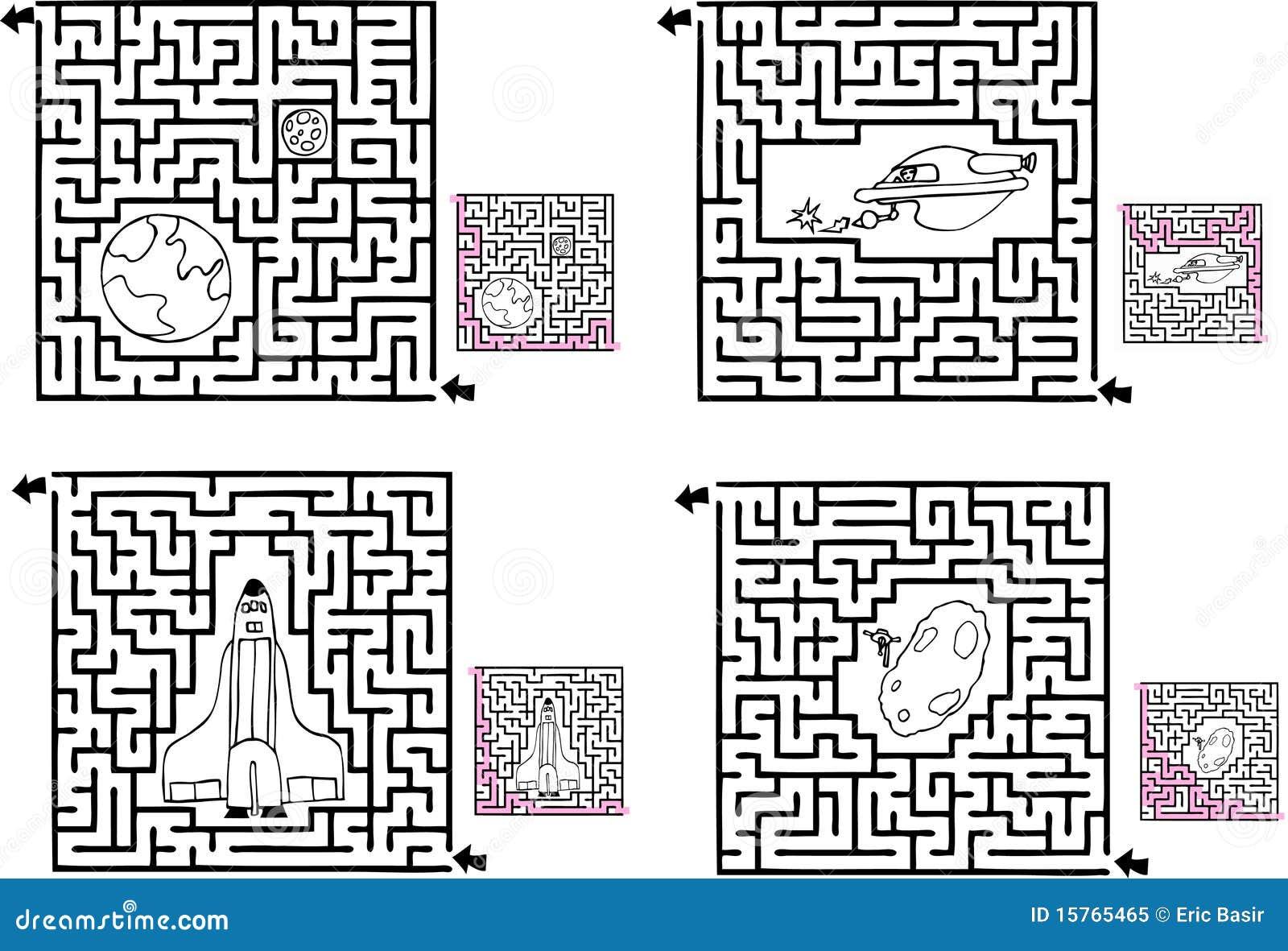 Four Fun Space Mazes