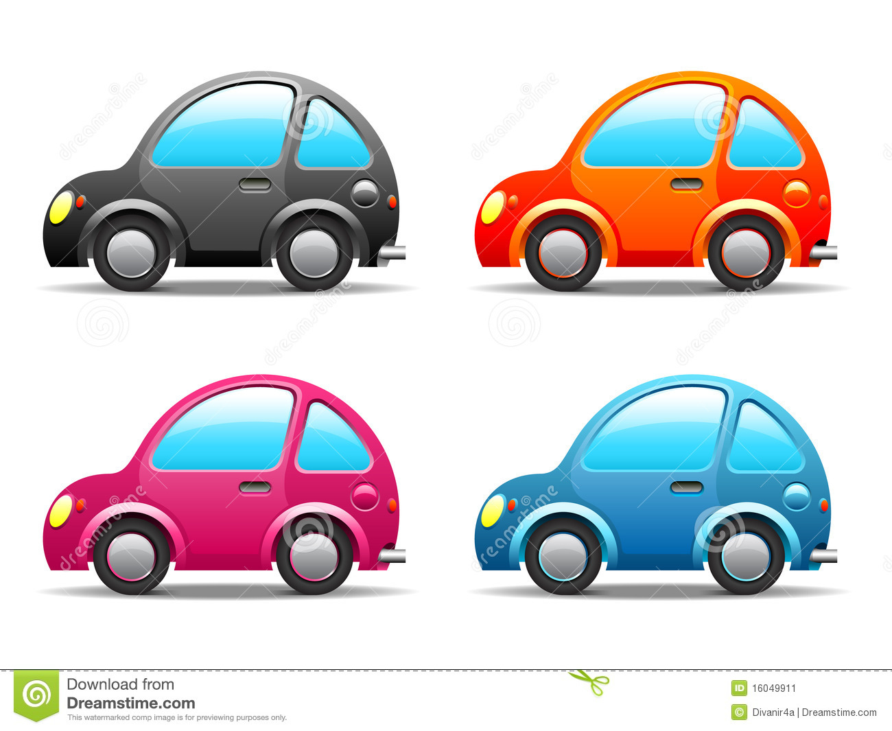 A Tale Of One House Four Funny Little Cars Stock Image Image 16049911