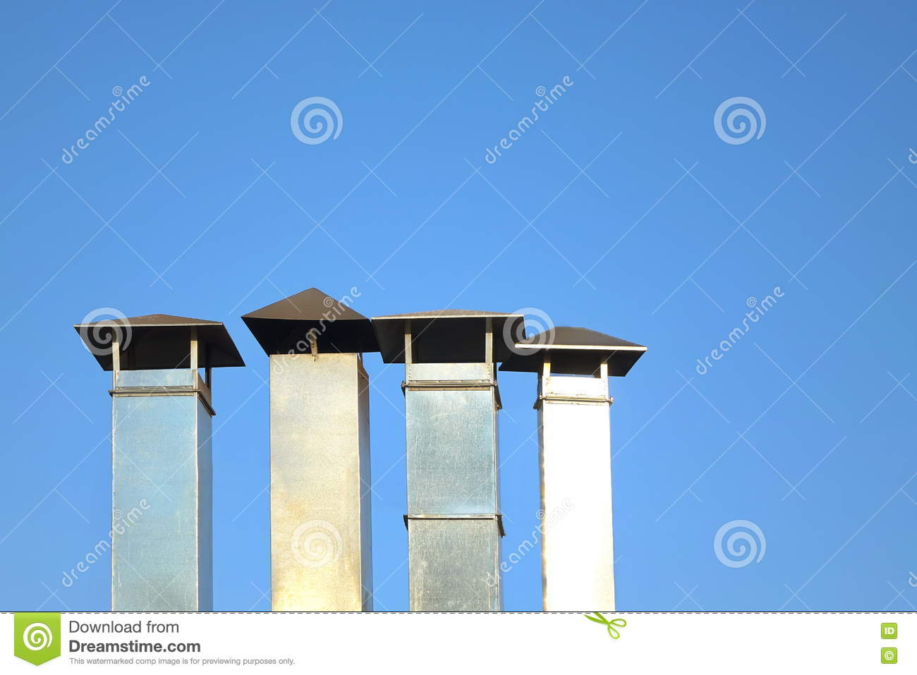 Download Four Galvanized Chimney Pipe Or Vent Pipe In A Row Stock Photo - Image of & Four Galvanized Chimney Pipe Or Vent Pipe In A Row Stock Photo ...