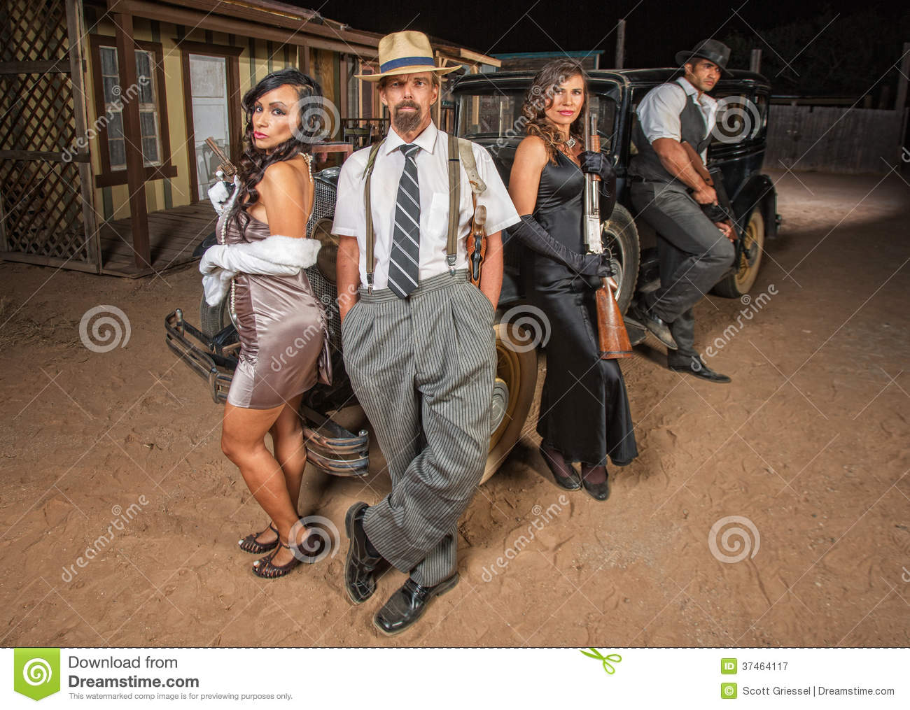 Four Gangsters With Guns Royalty Free Stock Photography ...
