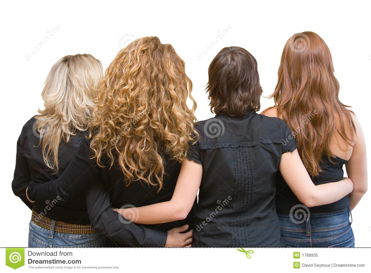 Four Girls Four Hair Colours Linking Arms Stock Image