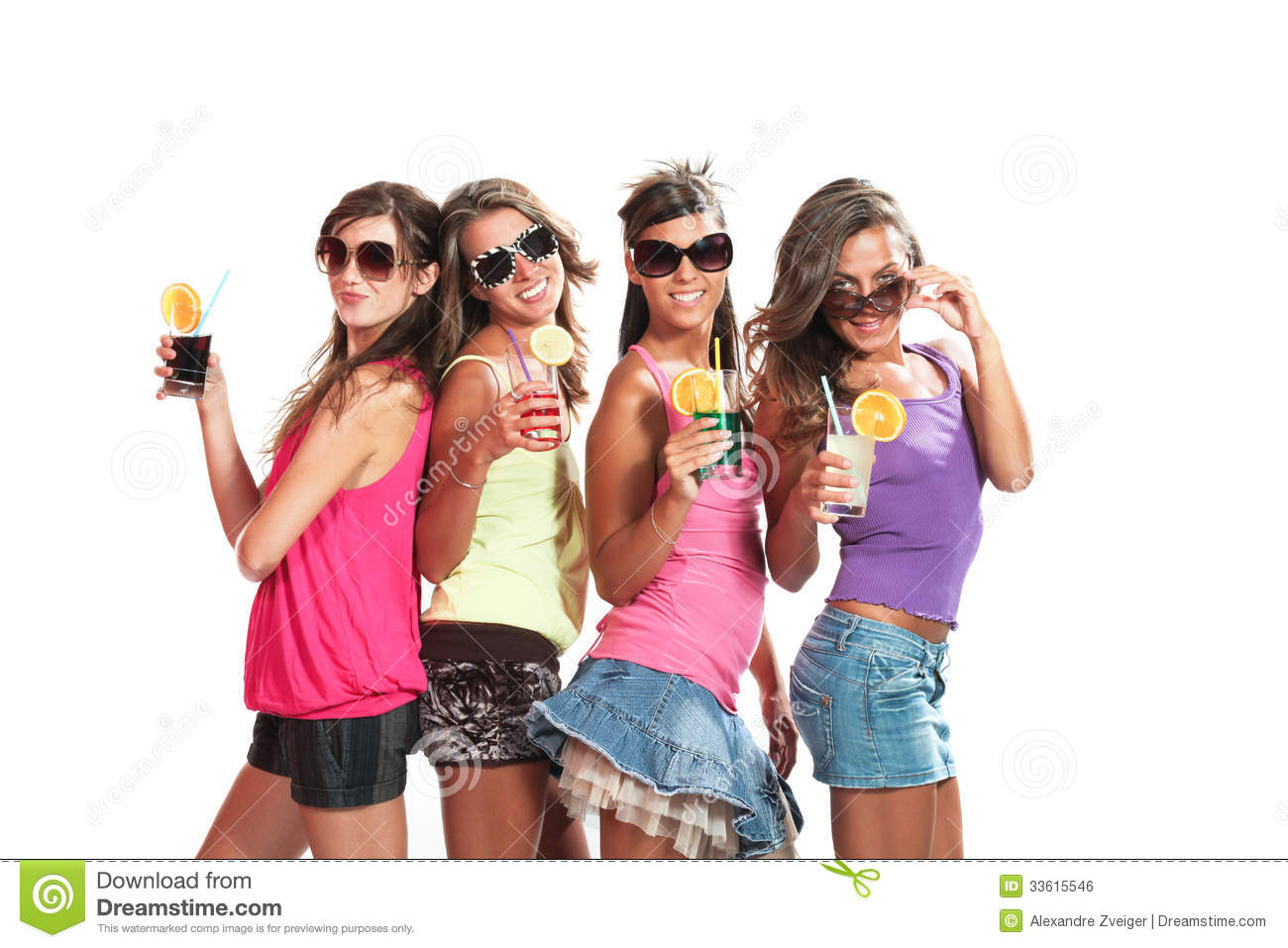 Party Ideas Four Girls Fun With A Drink Royalty Free Stock Image