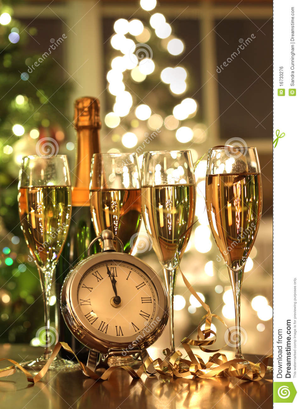 Four Glasses Of Champagne Ready For The New Year Stock