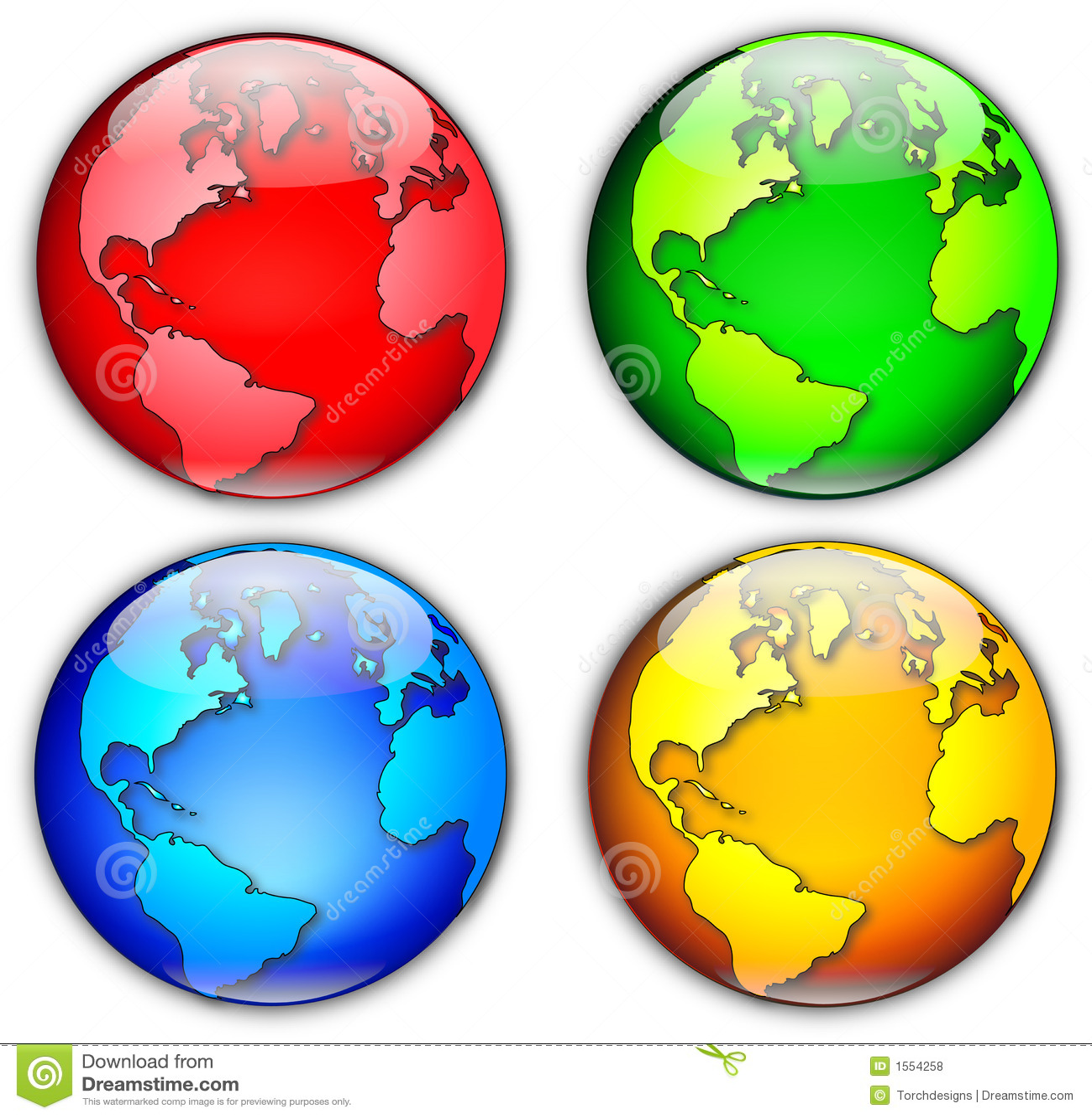 Four Globes Illustration