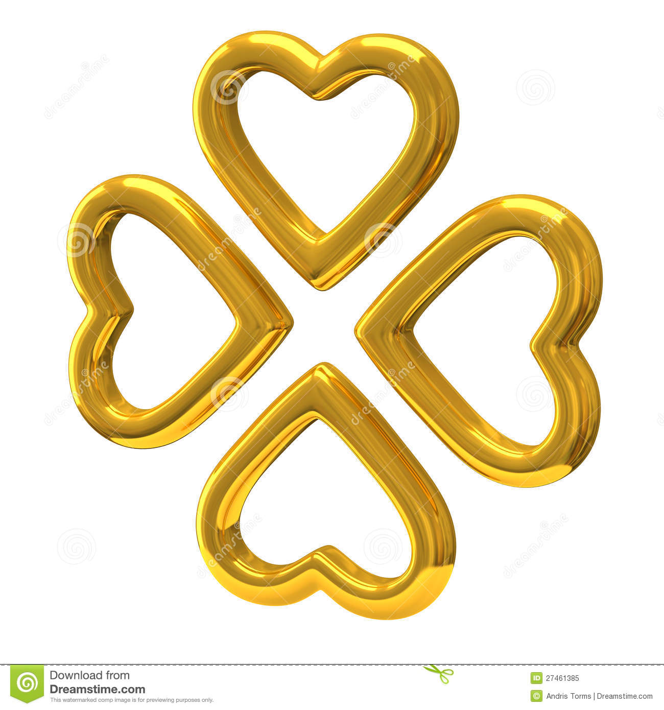 Royalty Free Stock Photo Four Golden Hearts As Four Leaf Clover 3d Image27461385 on Wedding Ring Clip Art Transparent