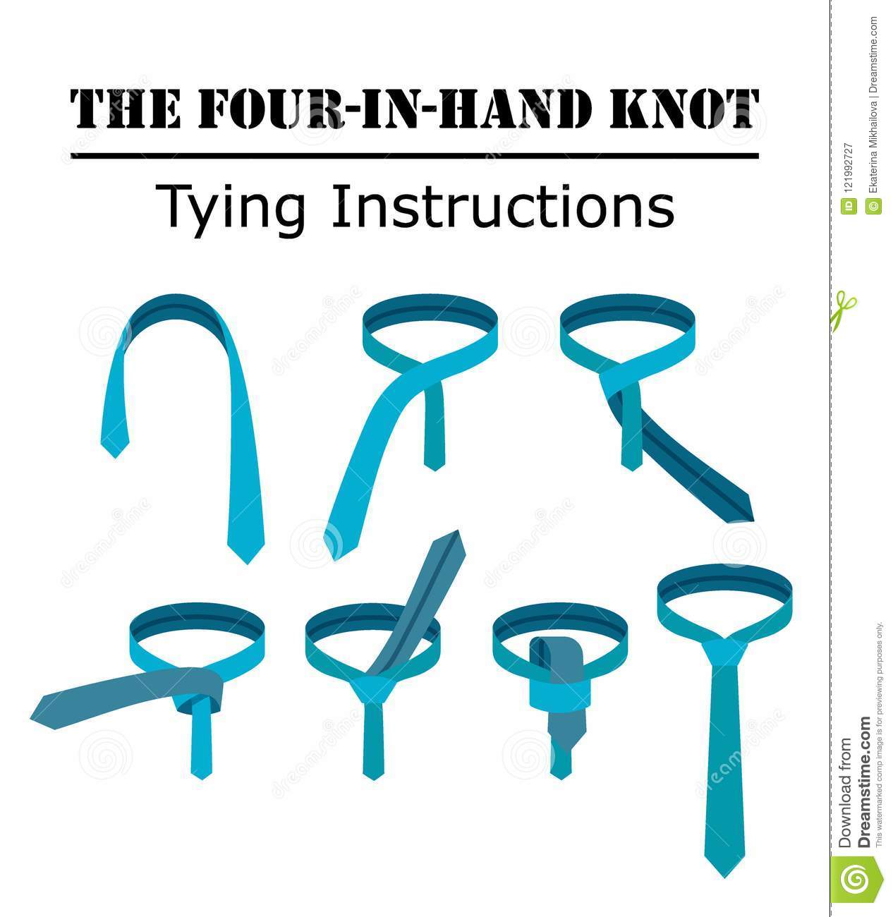 Four in hand tie knot instructions isolated on white background download comp ccuart Choice Image