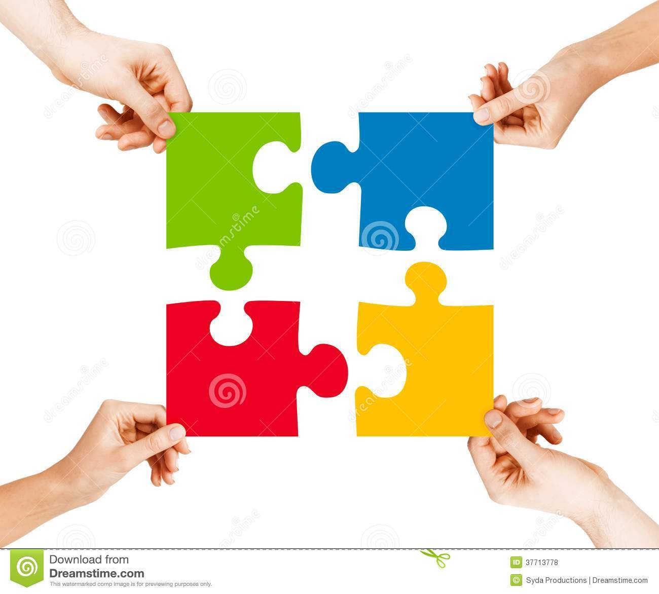 Four Hands Connecting Puzzle Pieces Royalty Free Stock Photos - Image ...