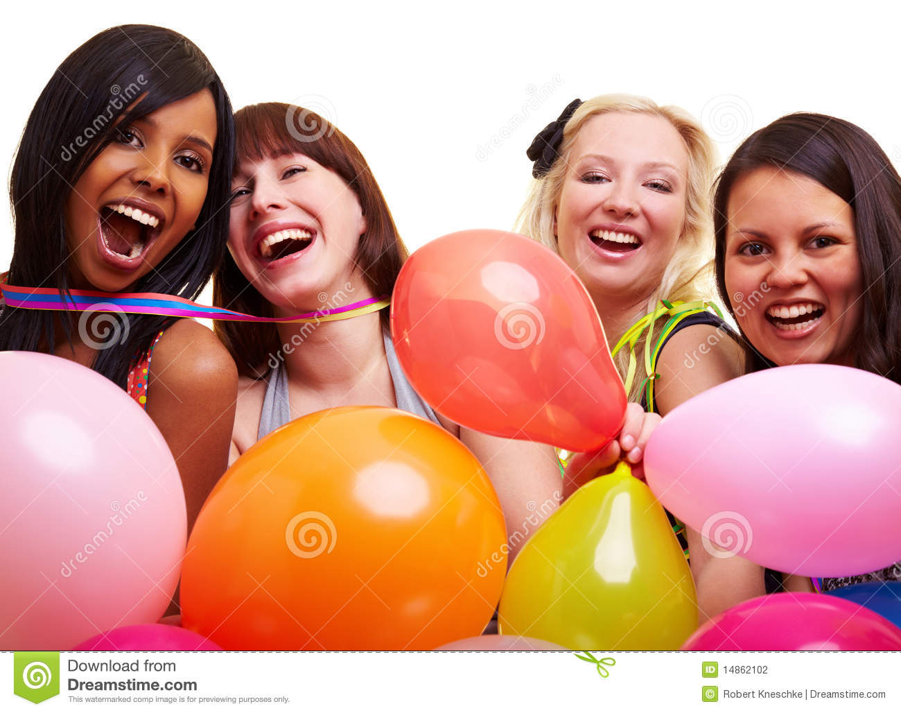 Four happy women smiling at party