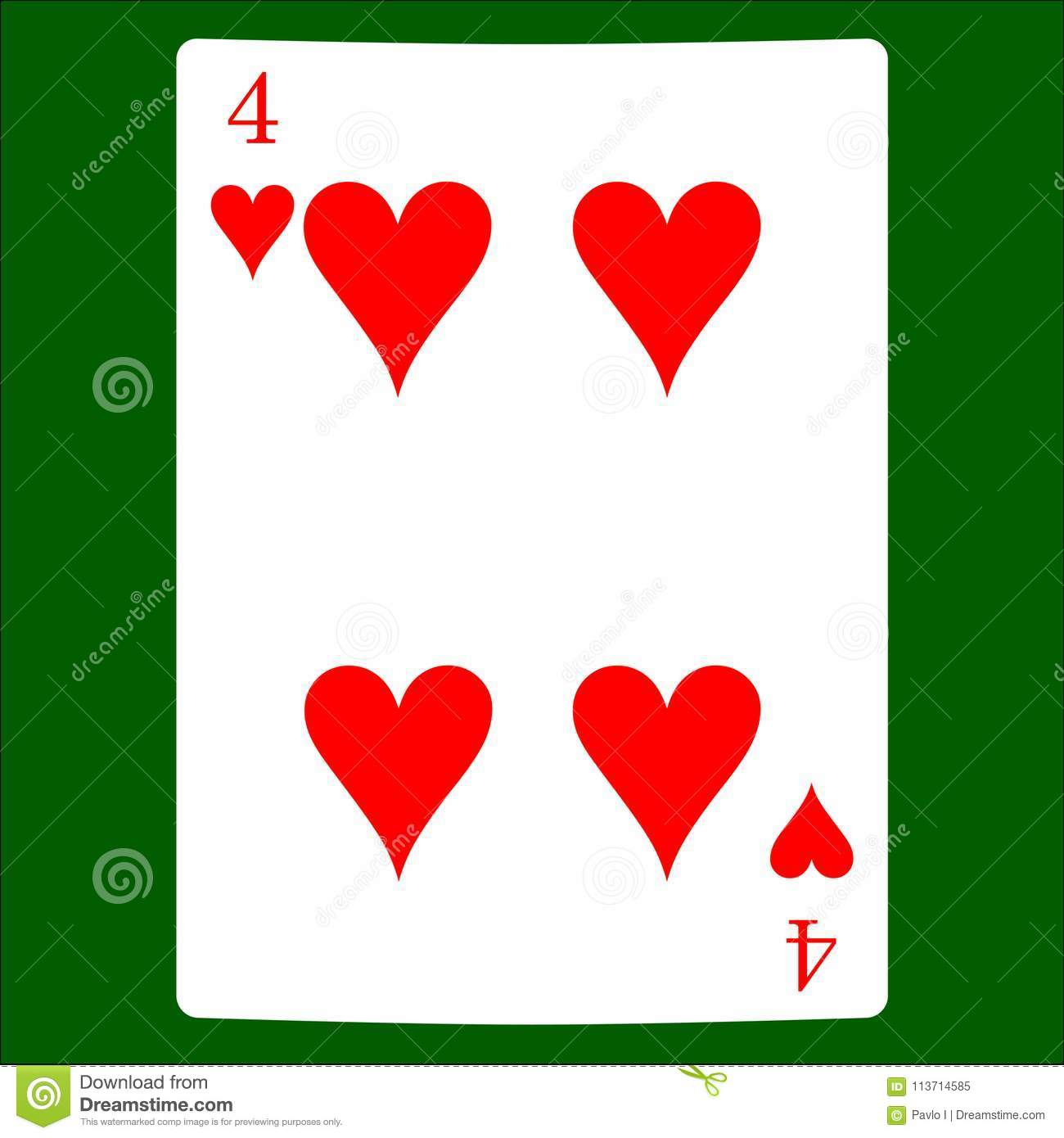 Four hearts. Card suit icon vector, playing cards symbols vector