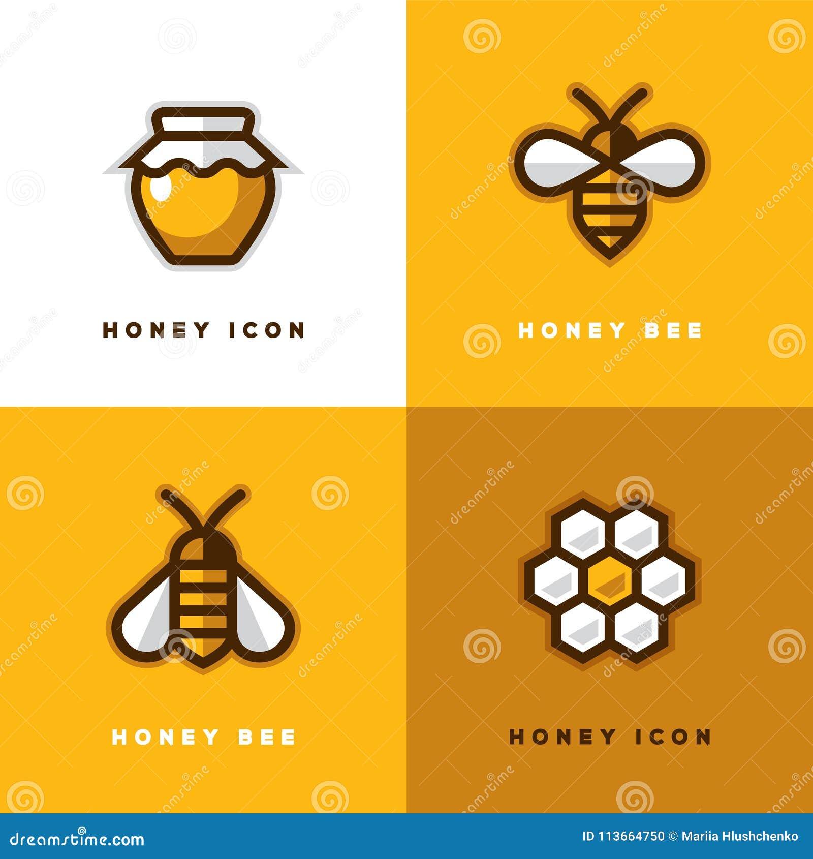 Four Honey Logo Stock Vector Illustration Of Bumblebee 113664750