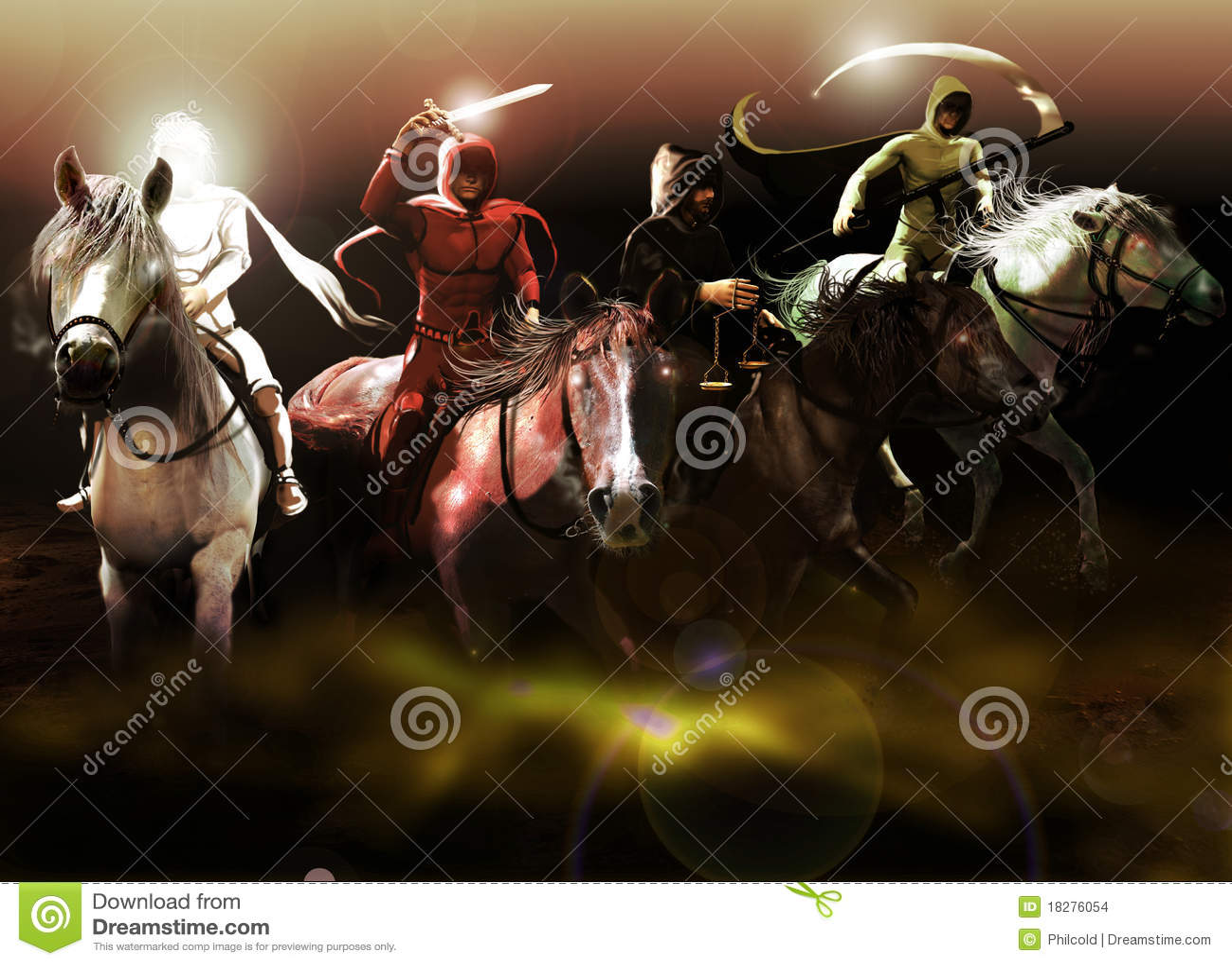 The Four Horsemen Of The Apocalypse Stock Illustration