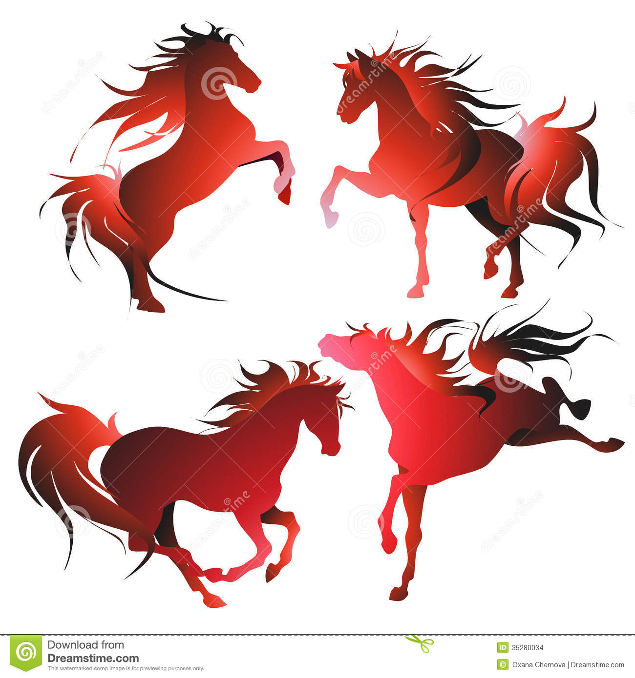 Four horses in the