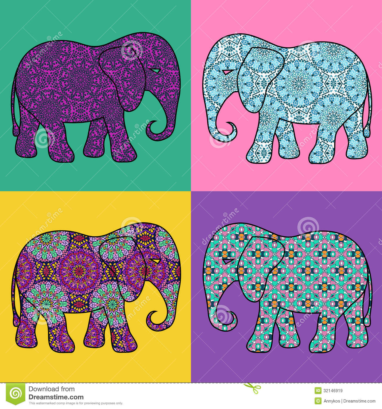Colorful Elephant Design Four isolated colorful mosaic