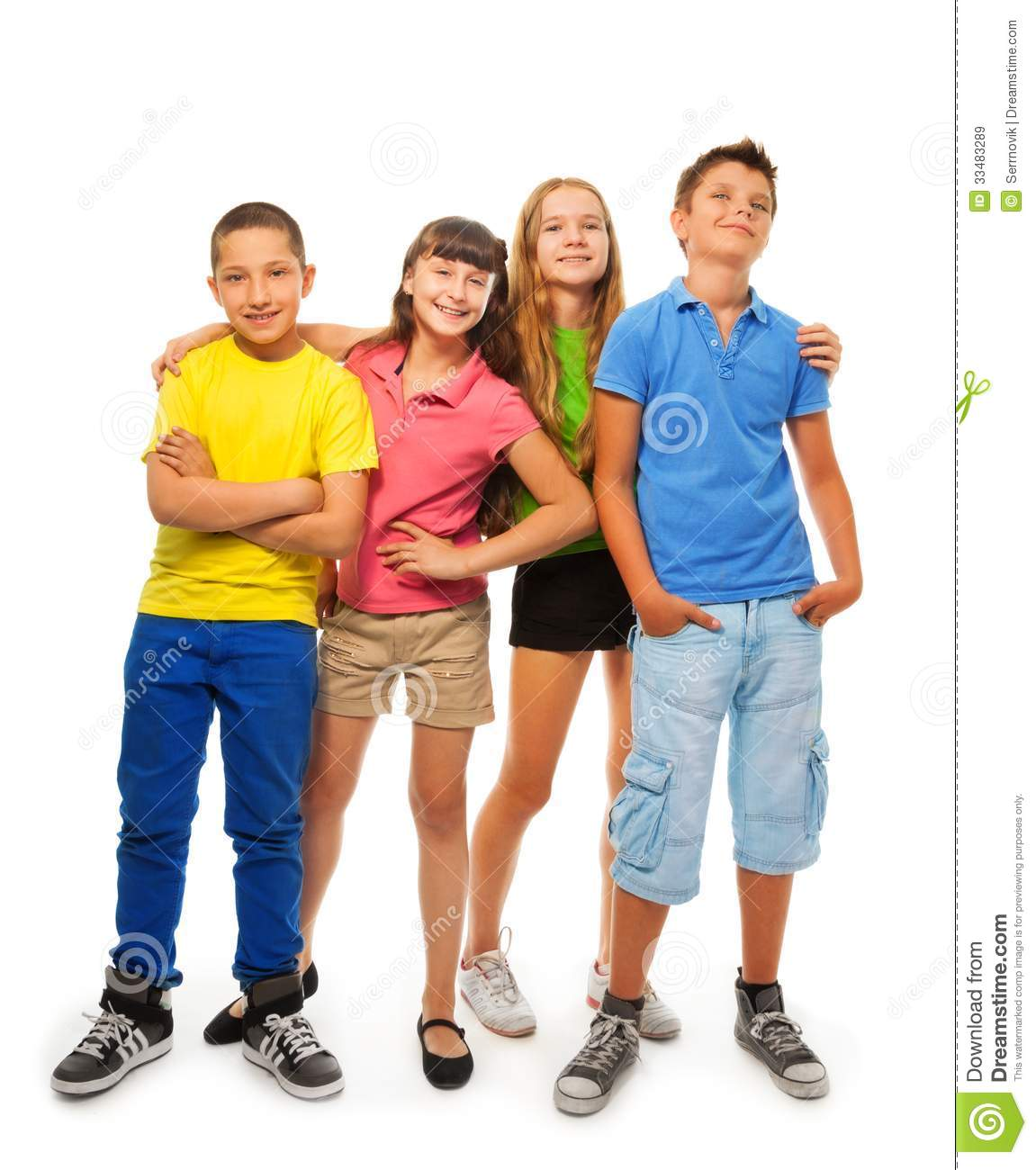 Young Happy Boy With Brown Wet Hair Is Smiling And: Four Kids In Full Height Royalty Free Stock Images